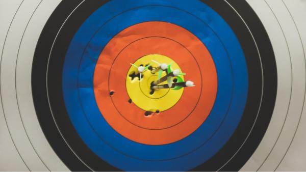 A bullseye target concentric circles going from white, black blue, red, to yellow in the middle, with arrows all throughout
