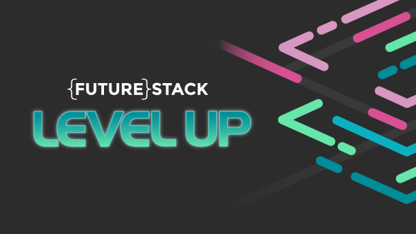 FutureStack LEVEL UP image with animated lines on the right: pink, light green, teal, blue