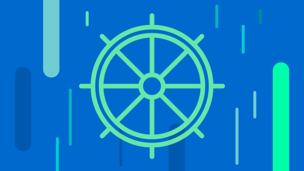 Illustration of a helm steering wheel with eight handles: light green on a blue background with data lines throughout