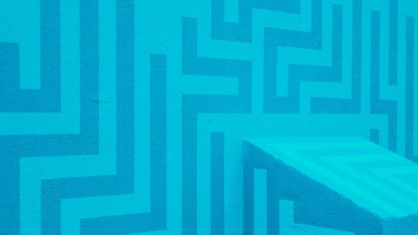 Abstract blue and teal square maze pattern