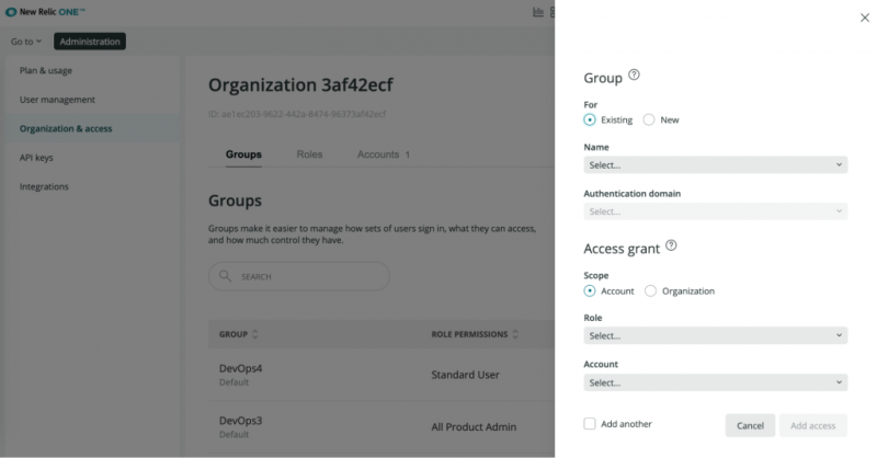 New Relic One group access