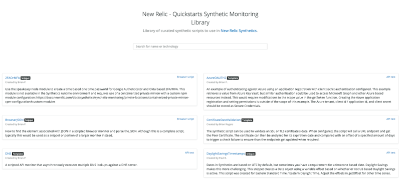 Quickstarts Synthetic Monitoring library