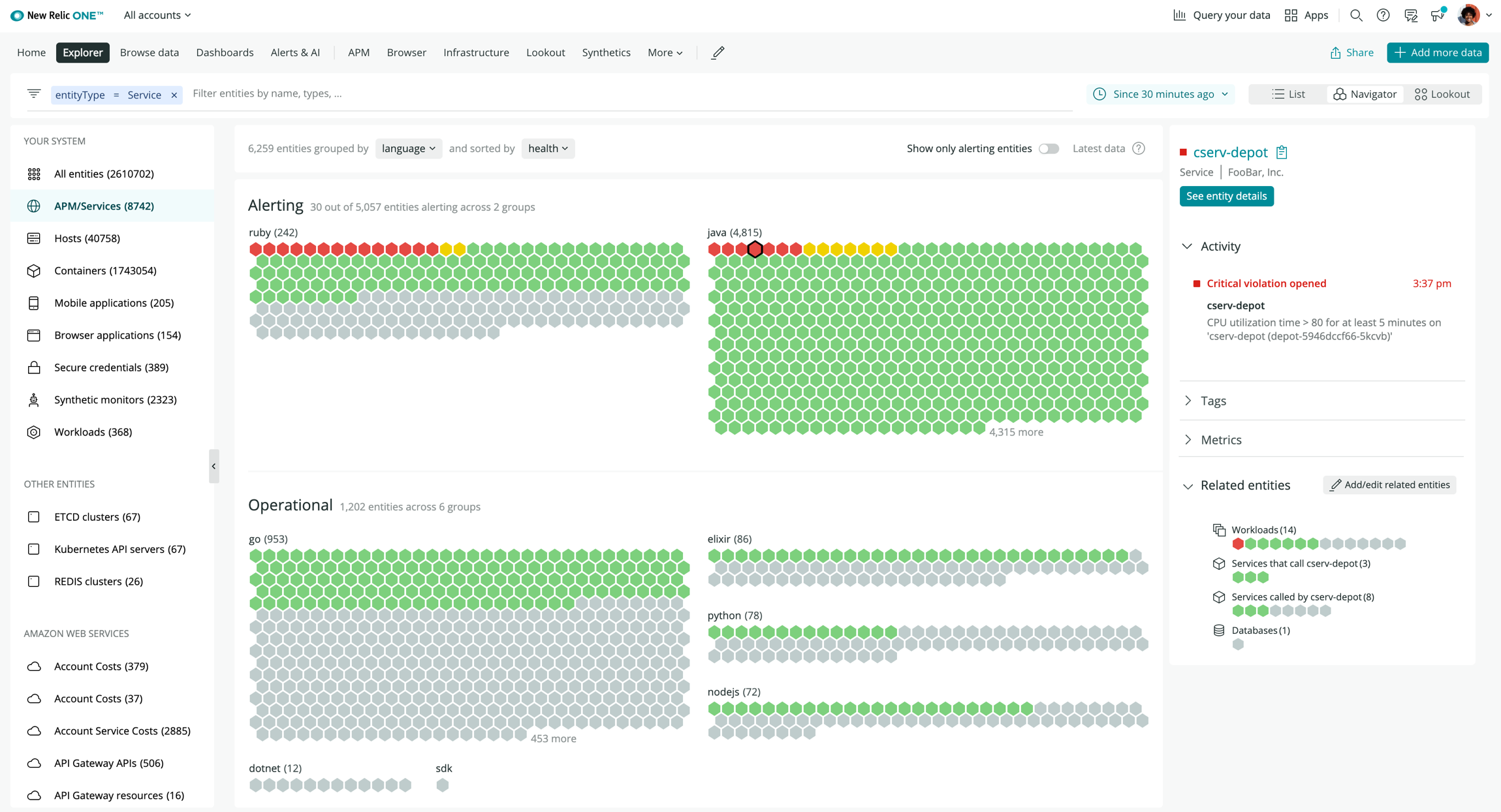 screenshot of New Relic Navigator